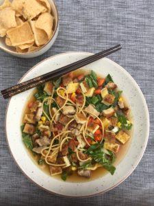 Noodlesoep, Omelet, Krokant spek