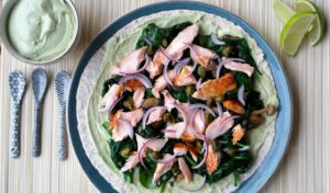 Wrap, Zalm, Spinazie, Paddenstoelen, avocado, supersnel