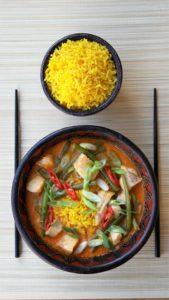 Thais, currysoep, gele rijst, sperziebonen, gele rijst