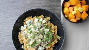 Pasta, Vegetarisch, Pompoen, Pastinaak, Roquefort, Paddenstoelen